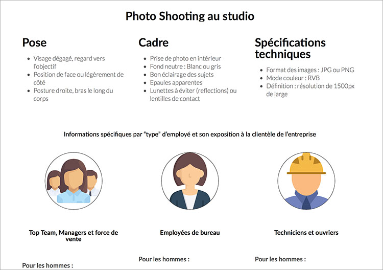Dress code sample exemple pour entreprise Headshot Pro